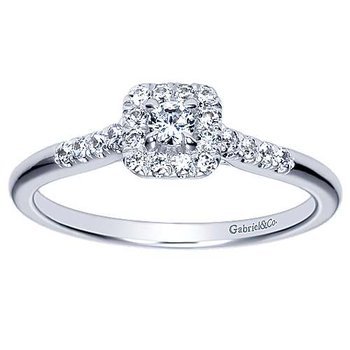 Adore Collection 14k White Gold Straight Diamond Engagement Ring by Gabriel NY