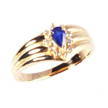 Genuine Blue Sapphire and Diamond Ring in 14k Yellow Gold - 4163