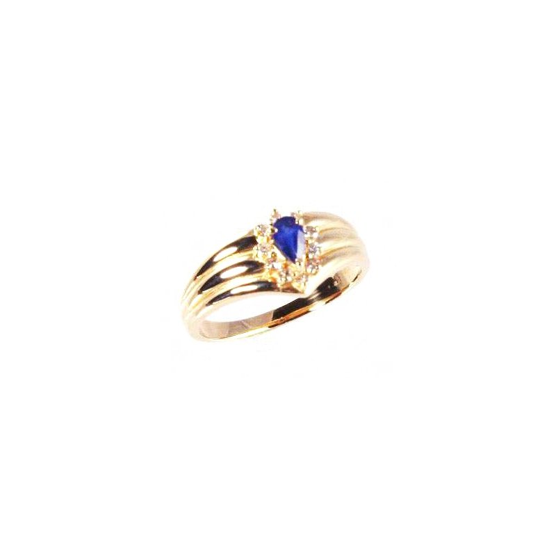 Signature Collection Genuine Blue Sapphire and Diamond Ring in 14k Yellow Gold - 4163