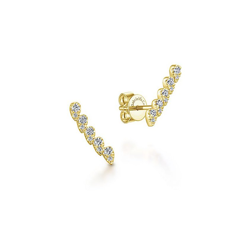Signature Collection 14k Yellow Gold Ear Crawler Diamond Studs by Gabriel NY - Style #EG13398Y