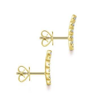 14k Yellow Gold Ear Crawler Diamond Studs by Gabriel NY - Style #EG13398Y