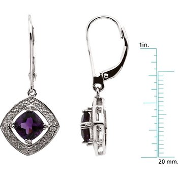 Genuine Amethyst & Diamond Leverback Earrings