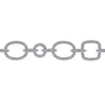 14k White Gold Diamond Link Bracelet by Gabriel NY