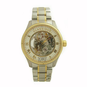 Classique Gents Two Tone Full Skeleton Swiss Made Automatic Watch - 9000B 2T