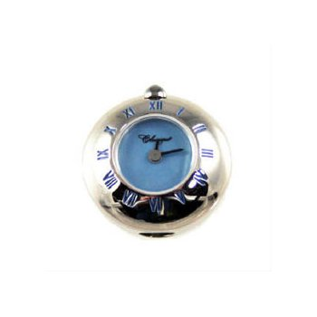 Sterling Silver Bead Watch with Blue Enamel Roman Numerals and Blue Mother of Pearl