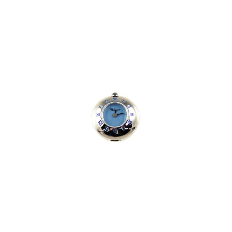 Swiss Watches Sterling Silver Bead Watch with Blue Enamel Roman Numerals and Blue Mother of Pearl