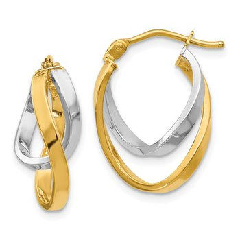 14k White and Yellow Gold Hinged Hoop Earrings