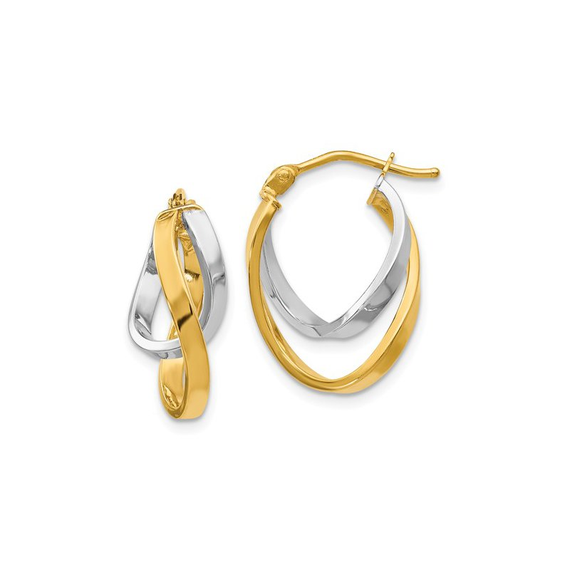 Signature Collection 14k White and Yellow Gold Hinged Hoop Earrings