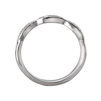 14k White Gold Scalloped Diamond Wedding Band