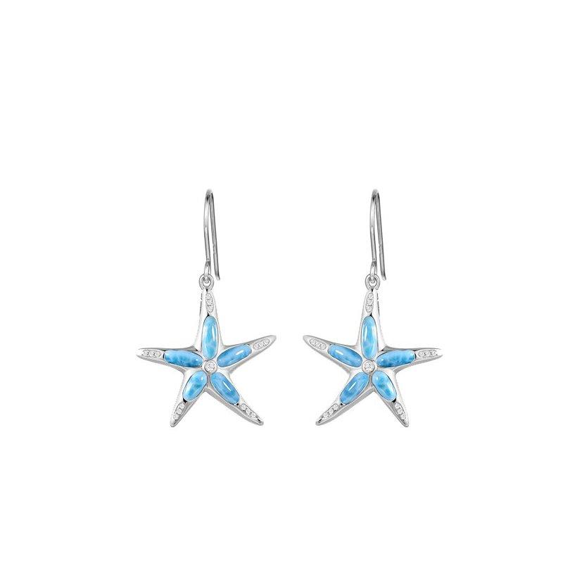 Sealife Jewelry Alamea Sterling Silver Larimar Starfish Earrings