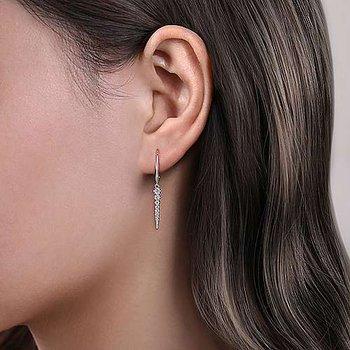 14k White Gold Diamond Dangle Earrings by Gabriel NY
