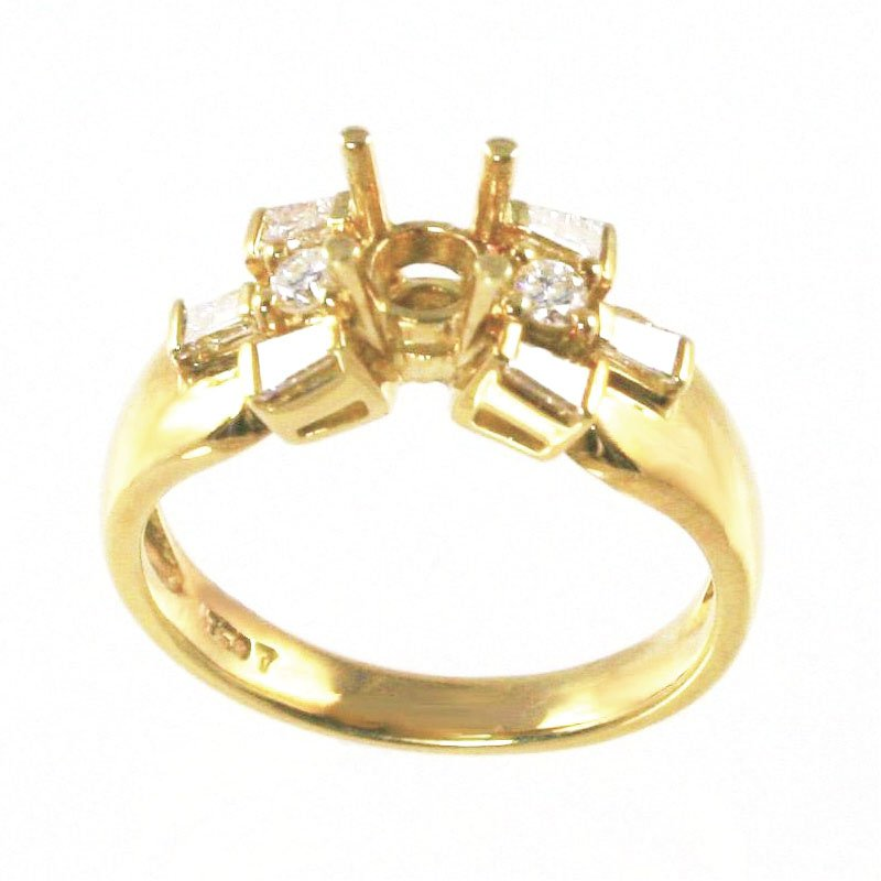 Signature Collection 18k Yellow Gold Baguette and Round Brilliant Diamond Mounting - #17452