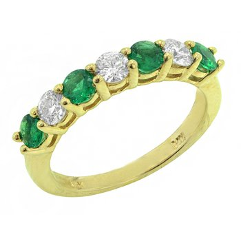 Genuine Emerald and Diamond Ring in 14k Yellow Gold - 1655BE