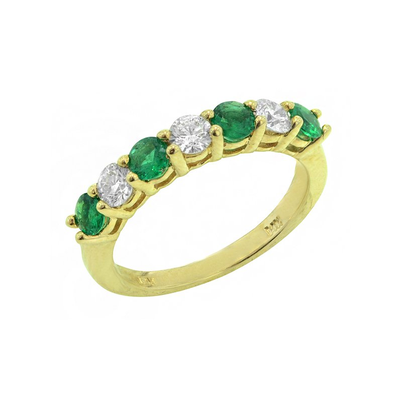 Signature Collection Genuine Emerald and Diamond Ring in 14k Yellow Gold - 1655BE