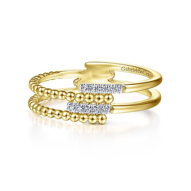 Signature Collection 14k Yellow Gold Bujukan Gabriel NY Criss Cross Fashion Ring from the Signature Collection - Style #LR51455