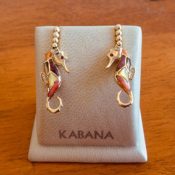 14k Yellow Gold Seahorse Earrings with Multi Mother of Pearl and Diamonds