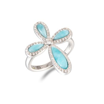 Sterling Silver Cross Ring with Larimar