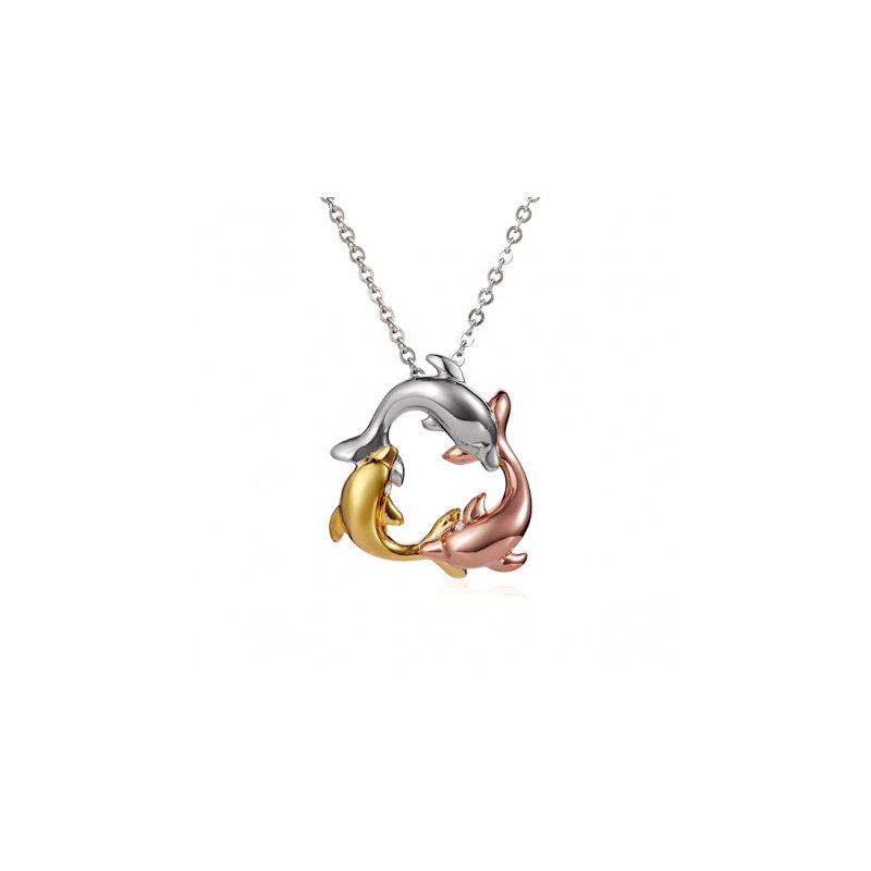 Sealife Jewelry 14k Tri-Color Circling Dolphin Pendant by Alamea