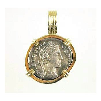 Genuine Ancient Roman Commodus Silver Coin framed in 14k Yellow Gold