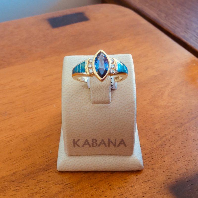 Kabana Jewelry Kabana Australian Opal, Diamond and Marquise Tanzanite Ring - #34506