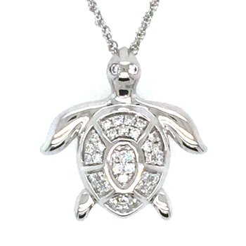 14k White Gold Diamond Sea Turtle Pendant