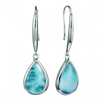 Sterling Silver Pear Shaped Dangle Earrings by Alamea with Larimar
