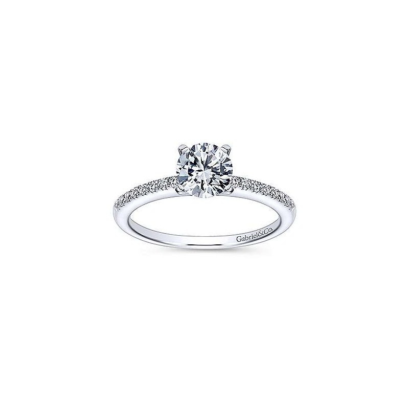 Gabriel NY Gabriel NY 14k White Gold Dainty Solitaire Engagement Ring Mounting