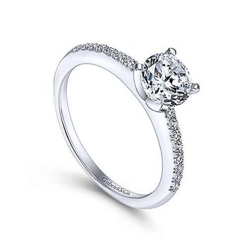 Gabriel NY 14k White Gold Dainty Solitaire Engagement Ring Mounting