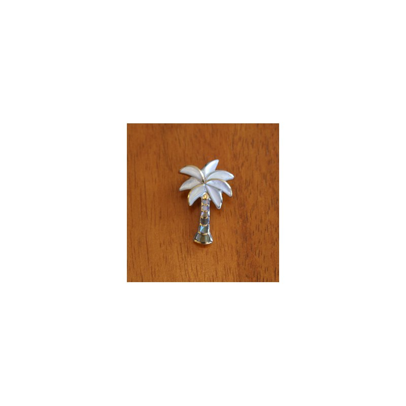 Kovel Sealife Sterling Silver and 18k Gold Plate Palm Tree Pendant with Multi-color Mother of Pearl Inlay