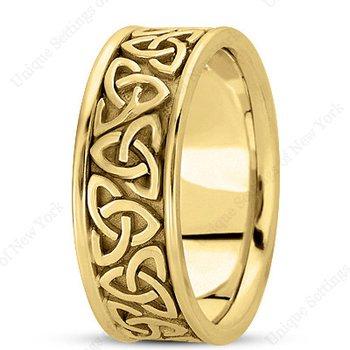 Unique Settings HM222 - Y - 14k Yellow Gold Handmade Celtic Design 8mm Men's Wedding Band