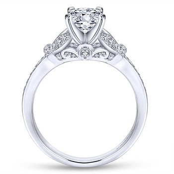 Rosamund 14k White Gold Engagement Ring by Gabriel NY with flower petal designs and diamond