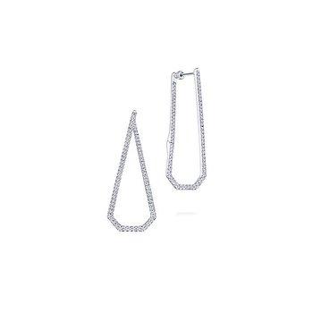 14k White Gold Geometric Intricate Diamond Hoop Earrings by Gabriel NY - Style #EG13446W