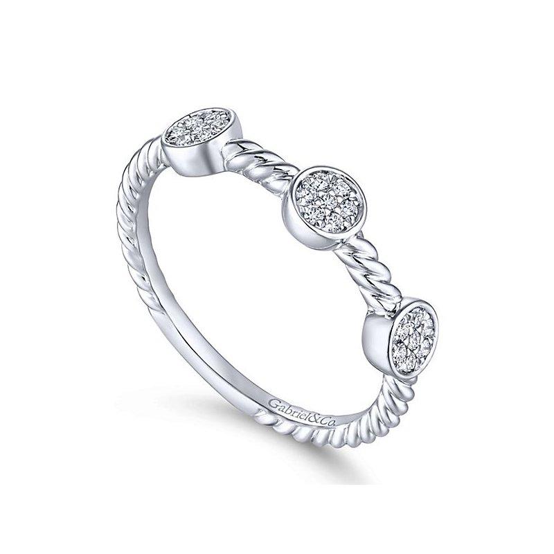 Gabriel NY Gabriel 14k White Gold Stackable Pave' Diamond Band - Style #LR51256W45JJ