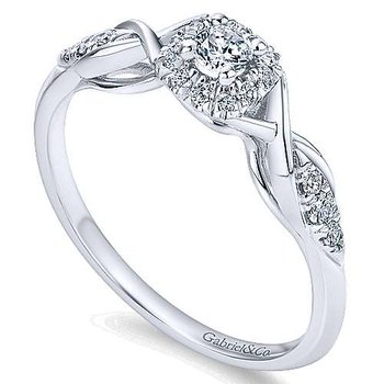 Adore Collection by Gabriel NY - Cooper - 14k White Gold Halo Engagement Ring