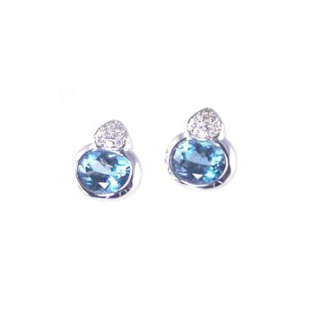 Genuine Blue Topaz and Diamond Earrings in 14k White Gold