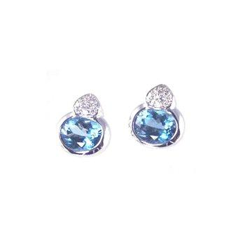 Genuine Blue Topaz and Diamond Earrings in 14k White Gold