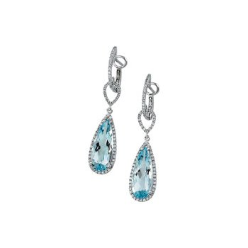 Genuine Sky Blue Topaz & Diamond Earrings