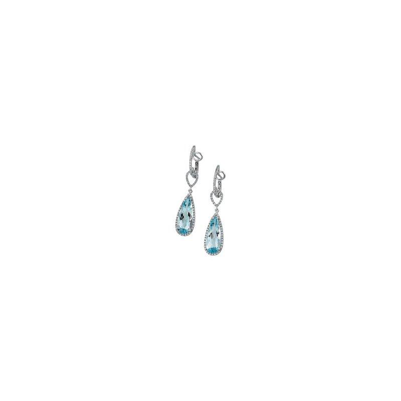 Signature Collection Genuine Sky Blue Topaz & Diamond Earrings