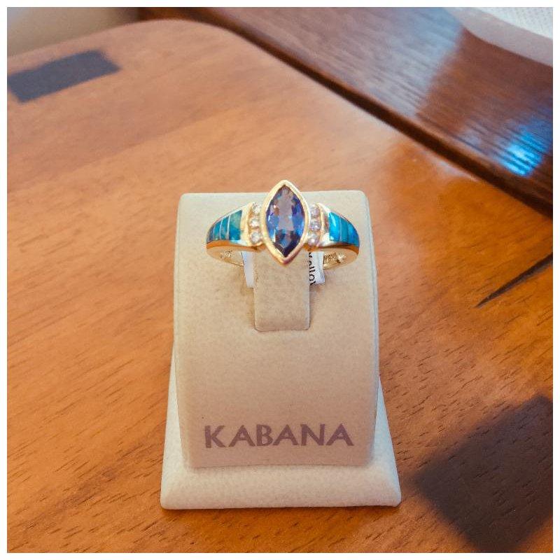 Kabana Jewelry Kabana Australian Opal, Tanzanite and Diamond Ring