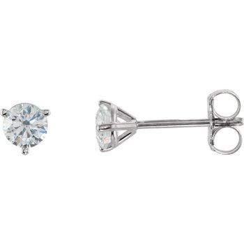14k White Gold Martini Set 3-prong Diamond Stud Earrings - 0.40ctw