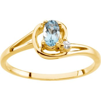 14k Yellow Gold Genuine Aquamarine & Diamond Ring