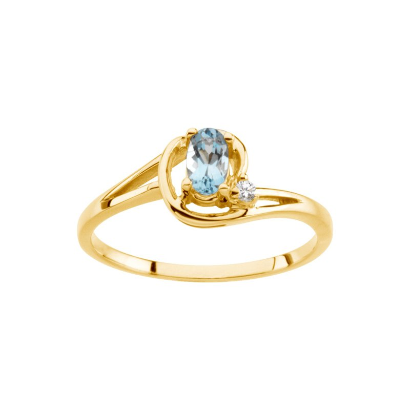 Signature Collection 14k Yellow Gold Genuine Aquamarine & Diamond Ring