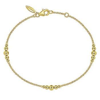 14k Yellow Gold Beaded Bracelet by Gabriel NY