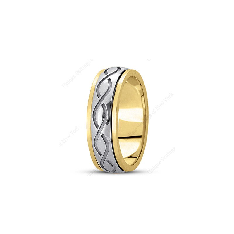 Unique Settings Unique Settings HM284 - W - Y - 14k White and Yellow Gold Handmade Celtic Design 7mm Men's Wedding Band