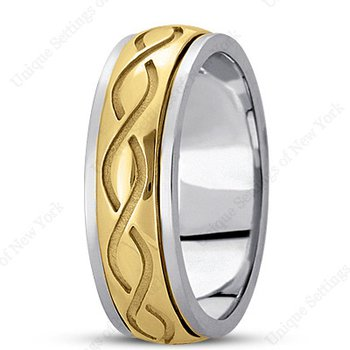 Unique Settings HM284 - W - Y - 14k White and Yellow Gold Handmade Celtic Design 7mm Men's Wedding Band