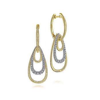 14k Yellow & White Gold Diamond Huggie Earrings with Graduating Teardrops