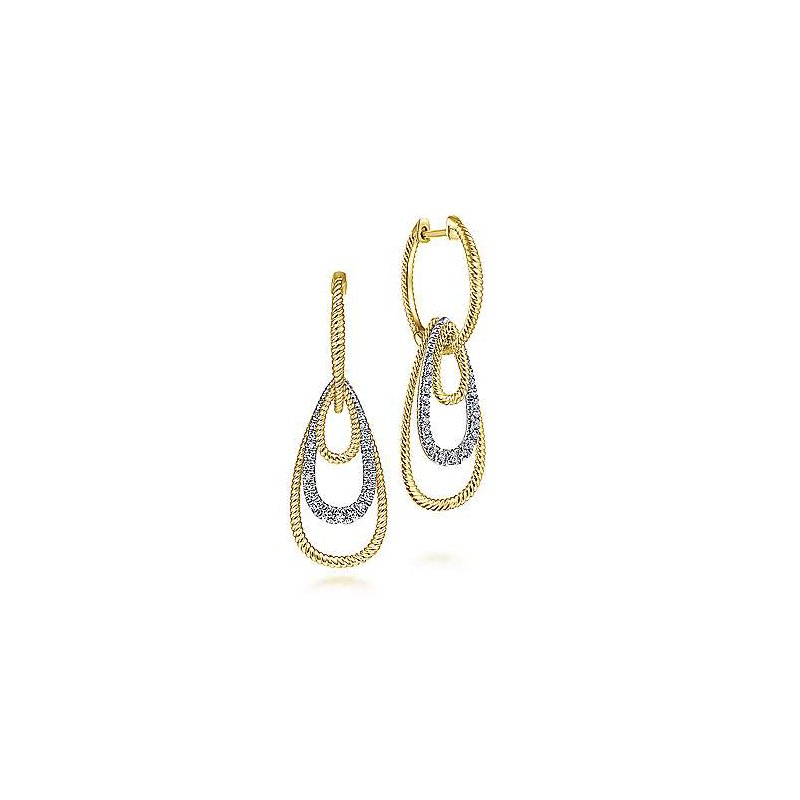 Signature Collection 14k Yellow & White Gold Diamond Huggie Earrings with Graduating Teardrops