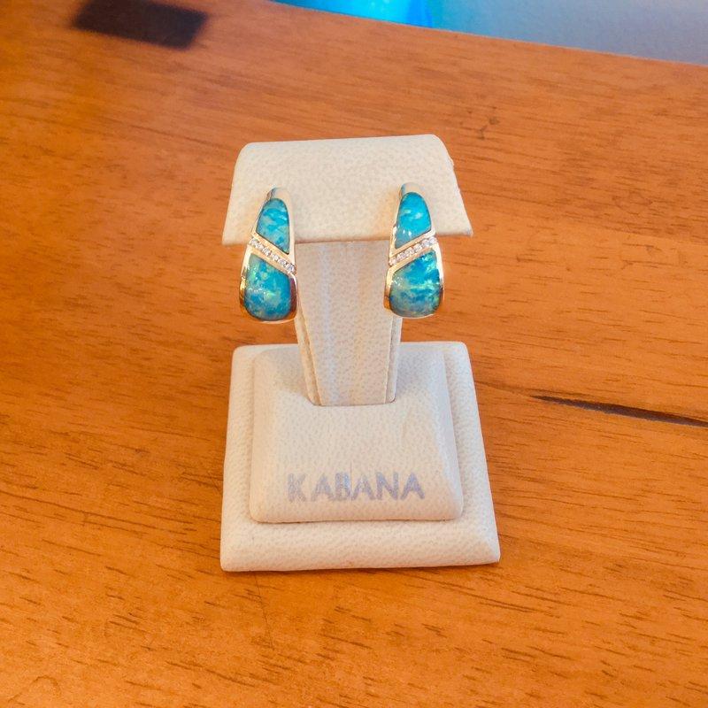 Kabana Jewelry 14k Yellow Gold Kabana Australian Opal and Diamond Earrings