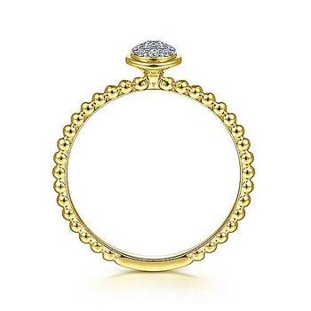 14k Yellow Gold Round Bezel Cluster Diamond Ring