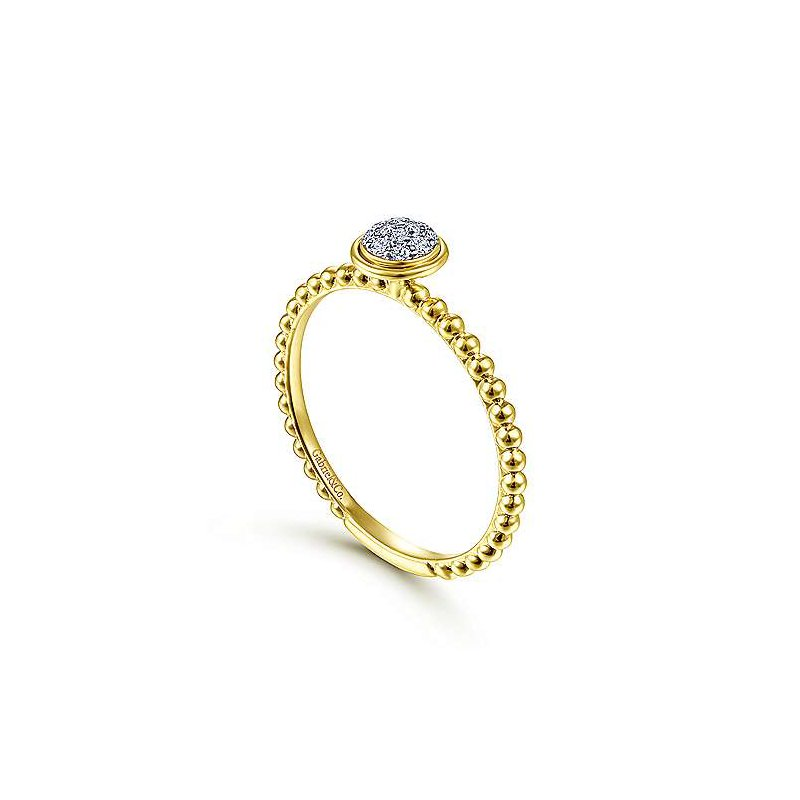 Signature Collection 14k Yellow Gold Round Bezel Cluster Diamond Ring